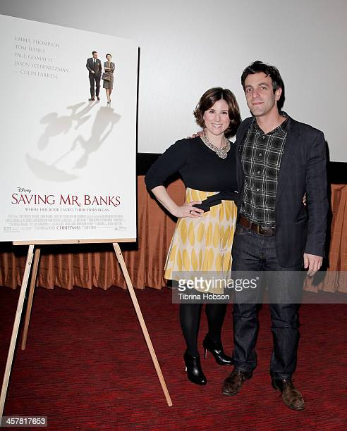 Melanie Paxson and BJ Novak attend the 'Saving Mr Banks' special screening and QA with BJ Novak at Pacific Theatre at The Grove on December 18 2013...