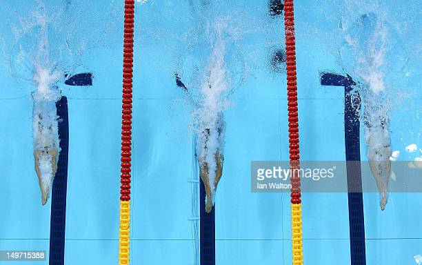 Melanie Schlanger of Australia Ranomi Kromowidjojo of Netherlands and Missy Franklin of the United States compete in the Final of the Women's 100m...