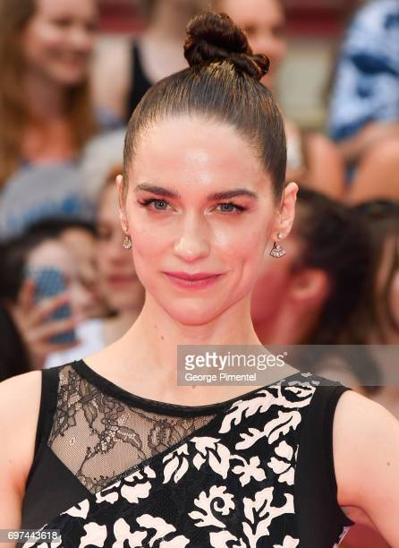Melanie Scrofano arrives at the 2017 iHeartRADIO MuchMusic Video Awards at MuchMusic HQ on June 18 2017 in Toronto Canada