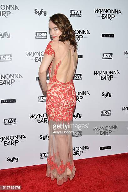 Melanie Scrofano attends the premiere of Syfy's 'Wynonna Earp' at WonderCon 2016 at Regal LA Live Stadium 14 on March 26 2016 in Los Angeles...