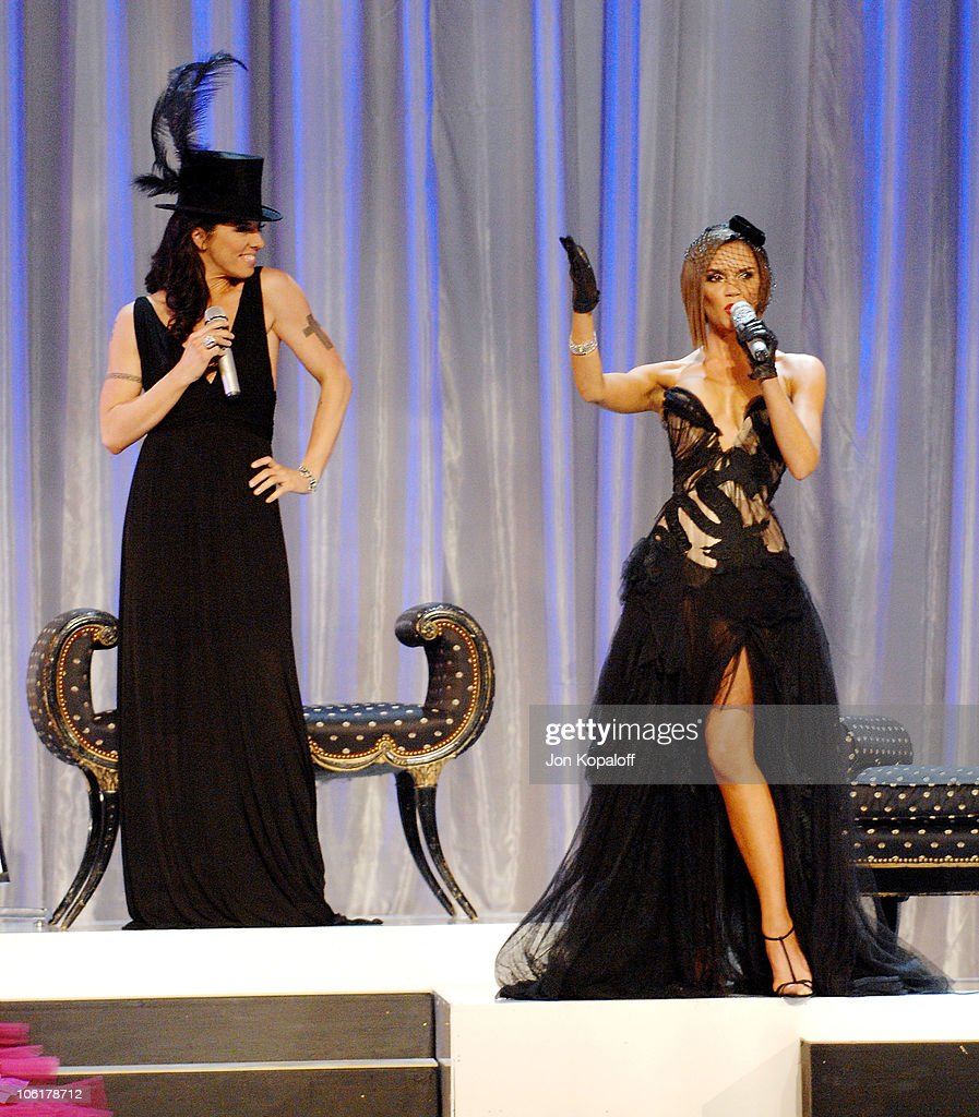Melanie 'Sporty Spice' Chisholm and Victoria 'Posh Spice' Beckham of <a gi-track='captionPersonalityLinkClicked' href=/galleries/search?phrase=Spice+Girls&family=editorial&specificpeople=534365 ng-click='$event.stopPropagation()'>Spice Girls</a> perform a the 12th Annual Victoria's Secret Fashion Show at the Kodak Theatre on November 15, 2007 in Hollywood, California.
