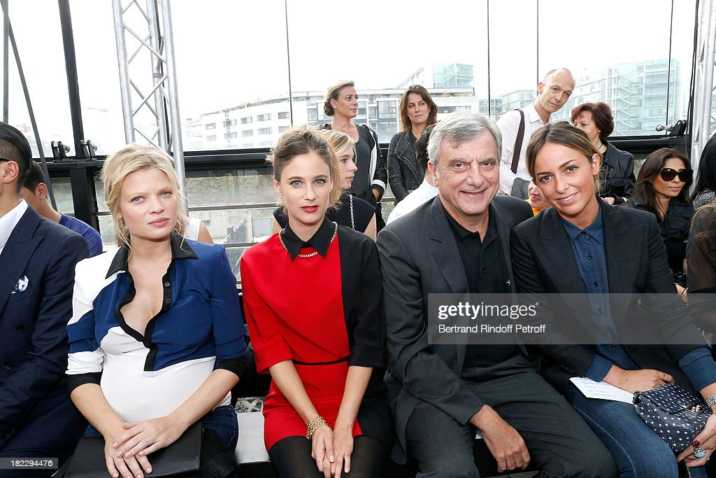 Melanie Thierry, Melanie Bernier, CEO Dior Sidney Toledano and his daughter Julia Toledano attend Maxime Simoens show as part of the Paris Fashion Week Womenswear Spring/Summer 2014, held at Orangerie du parc Andre Citroen on September 29, 2013 in Paris, France.