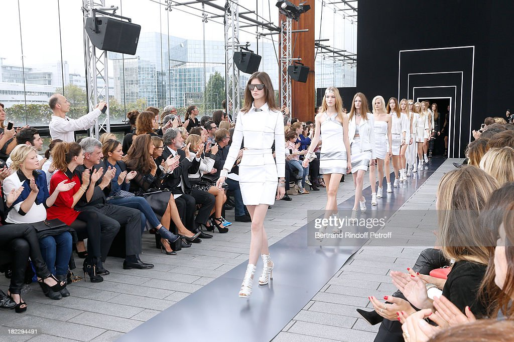 Melanie Thierry, Melanie Bernier, CEO Dior Sidney Toledano, his daughter Julia Toledano, Guest, parents of Maxime Simoens, Herve Simoens and his wife attend Maxime Simoens show as part of the Paris Fashion Week Womenswear Spring/Summer 2014, held at Orangerie du parc Andre Citroen on September 29, 2013 in Paris, France.