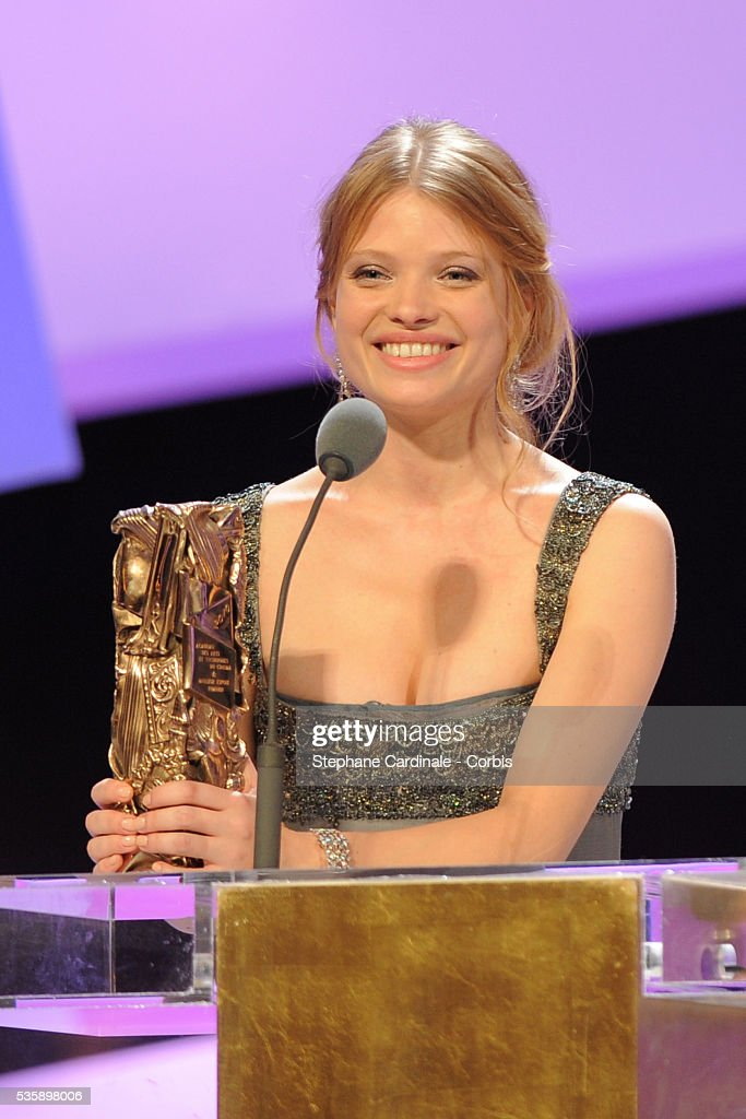 Melanie Thierry on stage with her 'Best Female Revelation' Cesar Award during the 35th Cesar awards ceremony, held at the Chatelet theater in Paris.