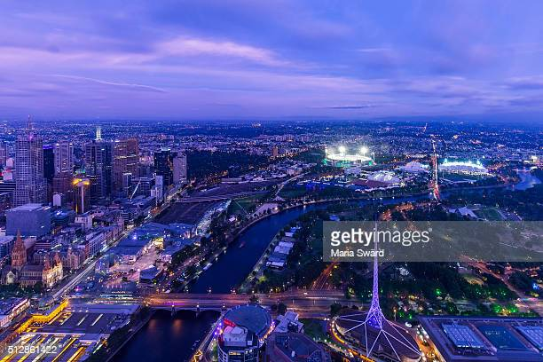 Melbourne aerial by night