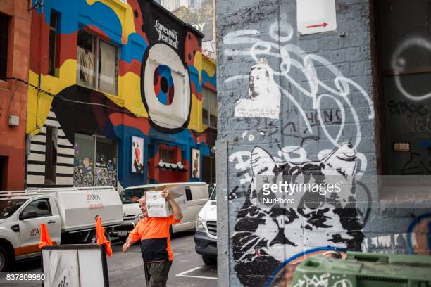 Melbourne Australia 16 march 2017 A delivery man in a street of the central business district Melbourne is ranked as the worlds most liveable city...