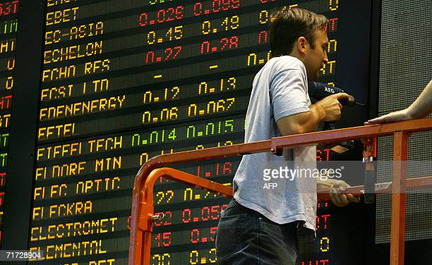 A workman works on the Australian Stock Exhange board in Melbourne 28 August 2006 as Australian share prices closed flat as investor sentiment...