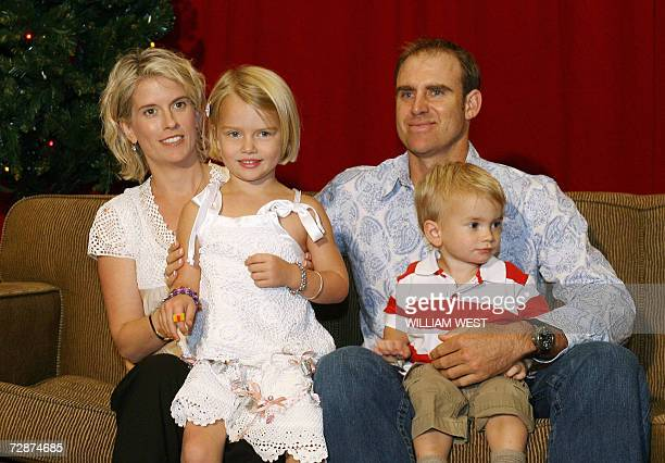 Australian cricketer Matthew Hayden enjoys the festive season with his wife Kellie and children Grace and Josh at the team's Christmas party where...