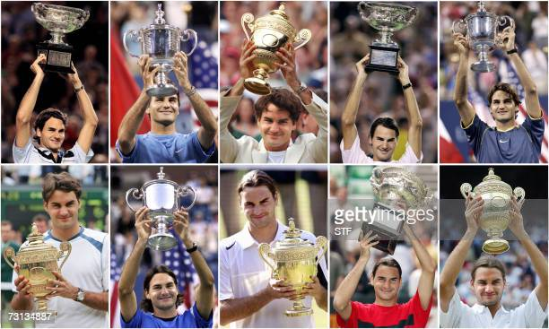 Combo picture showing tennis Roger Federer of Switzerland holding up his 10 Grand Slam titles Defending champion Roger Federer swept to his third...