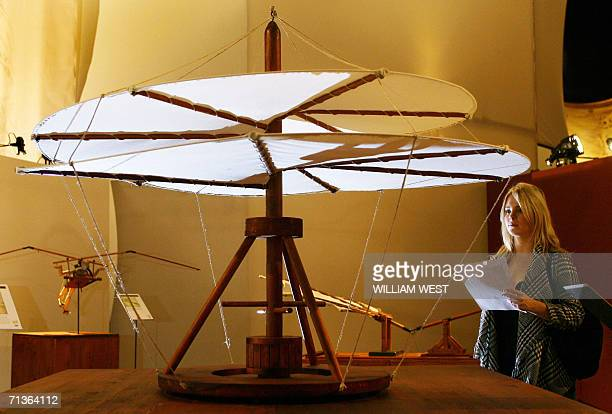 Kellie Shaw inspects one of Leonardo da Vinci's most famous designs which is recognised as the ancestor to the modern helicopter and is part of an...