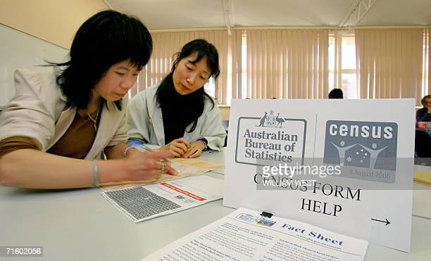 Shuli Gao helps Yunqin Zin fill in her census form as teachers and students from the Northern Melbourne Institute of TAFE in the outer Melbourne...