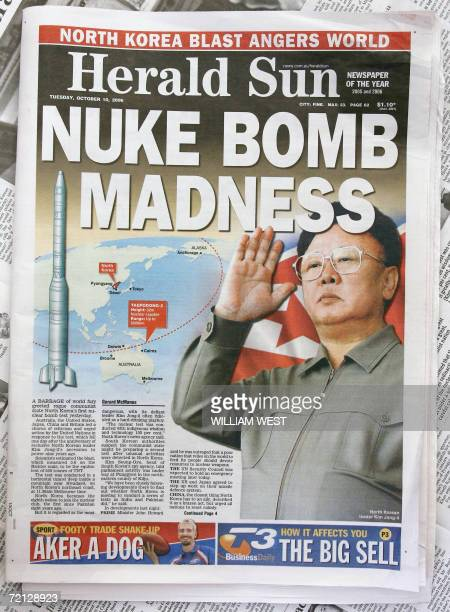 The front page of Melbourne's HeraldSun newspaper shows Australia's northern most city Darwin within range of North Korea's missiles 10 October 2006...