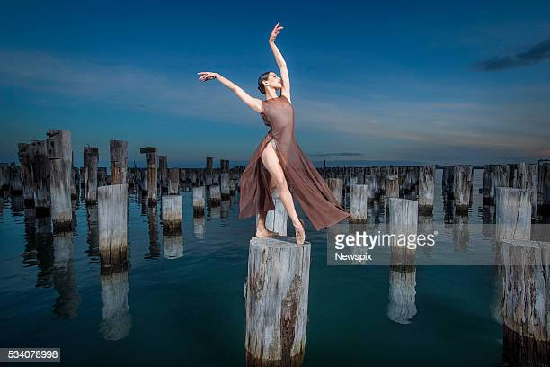 Melbourne Ballet Company dancer Kristy Lee Denovan poses during a photo shoot at Princess Pier in Melbourne Victoria