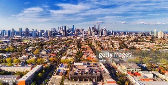 D Melbourne CBD From port : Stock Photo