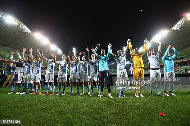 Melbourne City celebrate after they defeated Perth Glory during the ALeague Elimination Final match between Melbourne City FC and Perth Glory at AAMI...