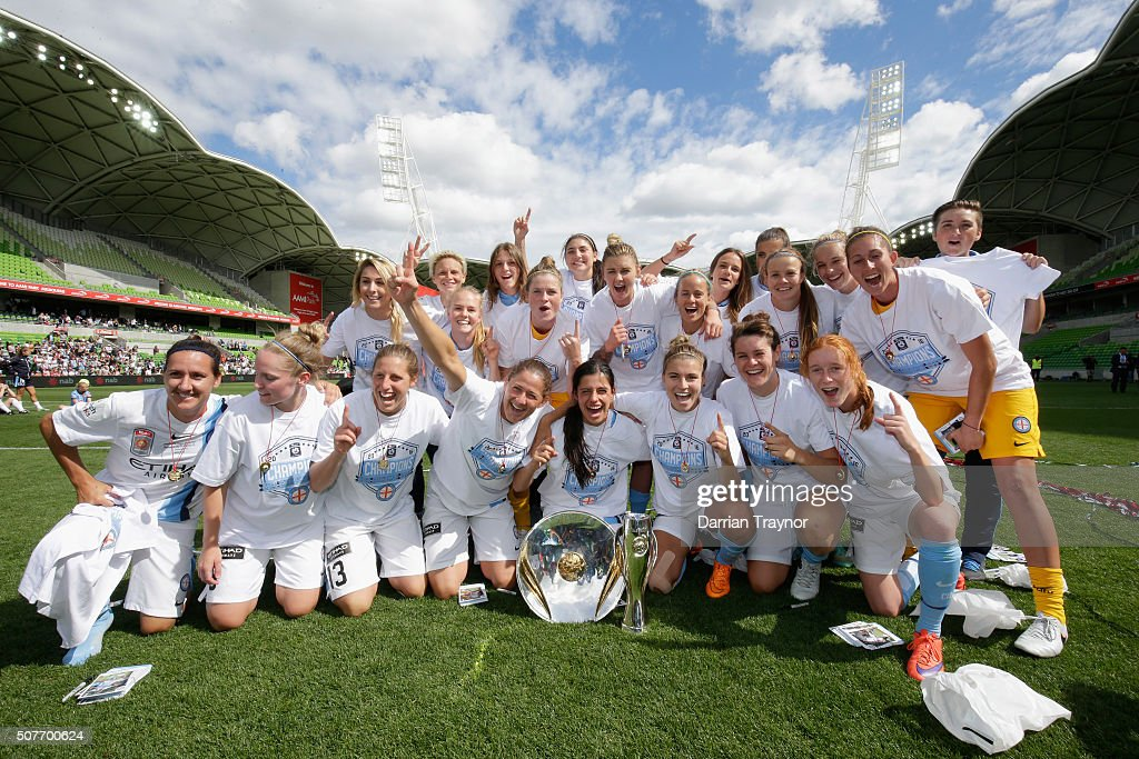 Melbourne City celebrate winning the 2016 WLeague Grand Final match between Melbourne Victory and Sydney FC at AAMI Park on January 31 2016 in...