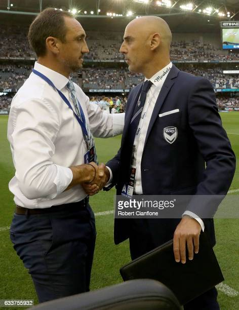 Melbourne City coach Michael Valkanis and Victory coach Kevin Muscat shale hands prior to the round 18 ALeague match between Melbourne Victory and...