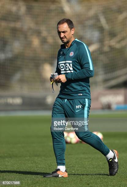 Melbourne City Coach Michael Valkanis looks on during a Melbourne City ALeague training session at City Football Academy on April 19 2017 in...