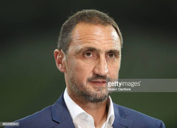 Melbourne City Coach Michael Valkanis looks on prior to the round 26 ALeague match between Melbourne City FC and Adelaide United at AAMI Park on...