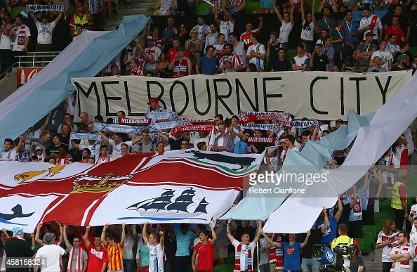 Melbourne City fans cheer during the round four ALeague match between Melbourne City and Adelaide United at AAMI Park on October 31 2014 in Melbourne...