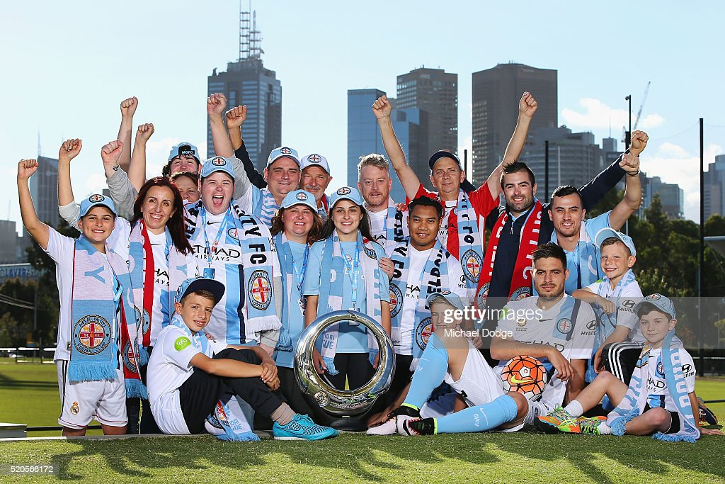 Melbourne City FC player Bruno Fornaroli and Damien de Bohun Head of Hyundai ALeague and City fans pose with the Hyundai ALeague Championship Trophy...