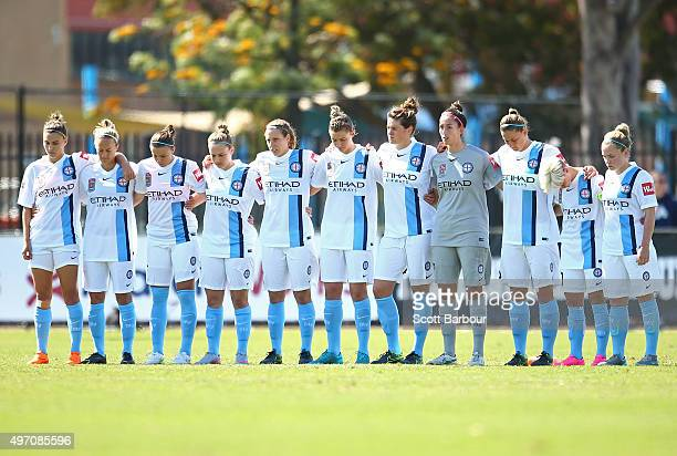 Melbourne City FC players stand for a Minute of Silence after the Paris terrorist attacks during the round five WLeague match between Melbourne City...