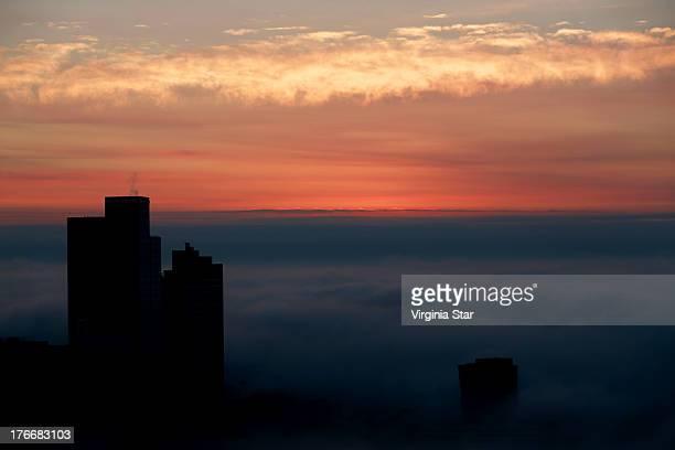 Melbourne city foggy sunrise at winter Australia