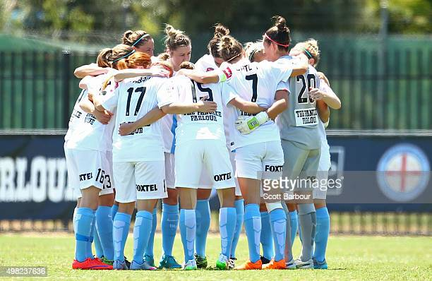 Melbourne City form a huddle during the round six WLeague match between Melbourne City and the Brisbane Roar at CBSmith Reserve on November 22 2015...