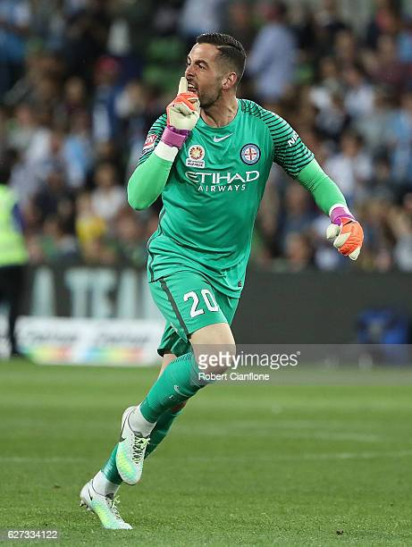 Melbourne City goalkeeper Dean Bouzanis gestures to the Brisbane Roar bench after Nicolas Colazo of Melbourne City scored a goal during the round...