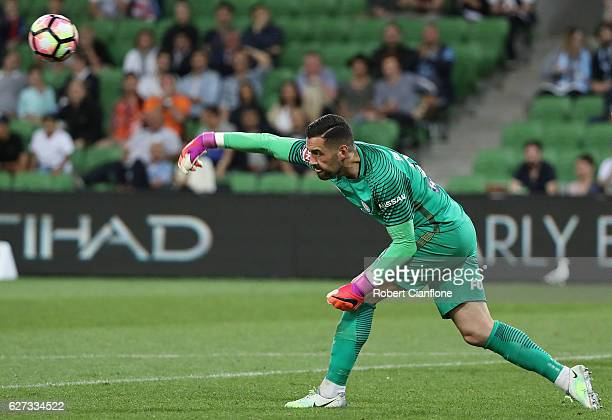 Melbourne City goalkeeper Dean Bouzanis throws the ball during the round nine ALeague match between Melbourne City FC and the Brisbane Roar at AAMI...