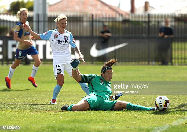 Melbourne City goalkeeper Lydia Williams makes a save during the round one WLeague match between Melbourne City and the Newcastle Jets at CB Smith...