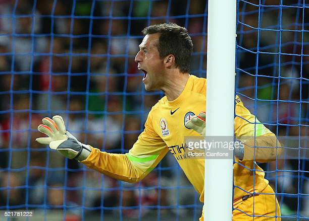Melbourne City goalkeeper Thomas Sorensen calls out to his defence during the ALeague Elimination Final match between Melbourne City FC and Perth...
