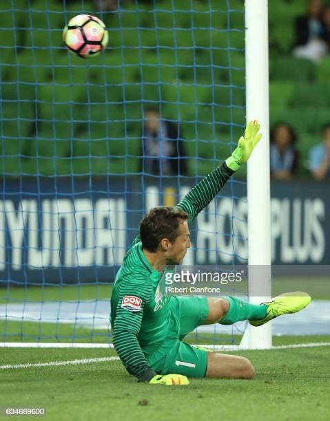 Melbourne City goalkeeper Thomas Sorensen fails to stop a penalty from Jamie McLaren of the Roar during the round 19 ALeague match between Melbourne...