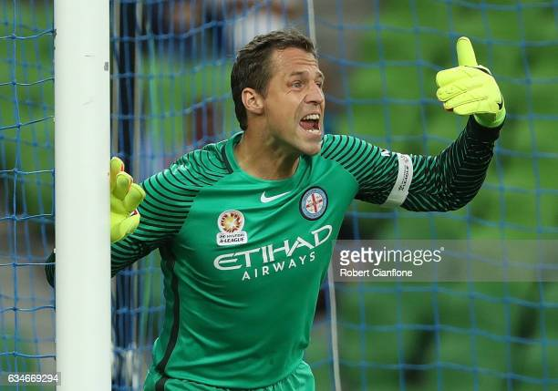 Melbourne City goalkeeper Thomas Sorensen gestures during the round 19 ALeague match between Melbourne City FC and the Brisbane Roar at AAMI Park on...