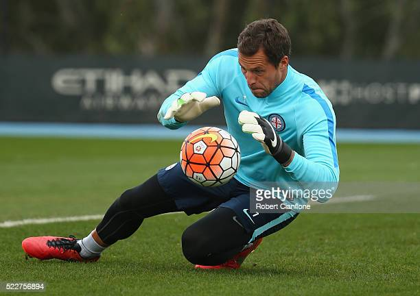 Melbourne City goalkeeper Thomas Sorensen makes a save during a Melbourne City ALeague training session at City Football Academy on April 21 2016 in...