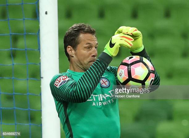 Melbourne City goalkeeper Thomas Sorensen makes a save during the round 19 ALeague match between Melbourne City FC and the Brisbane Roar at AAMI Park...