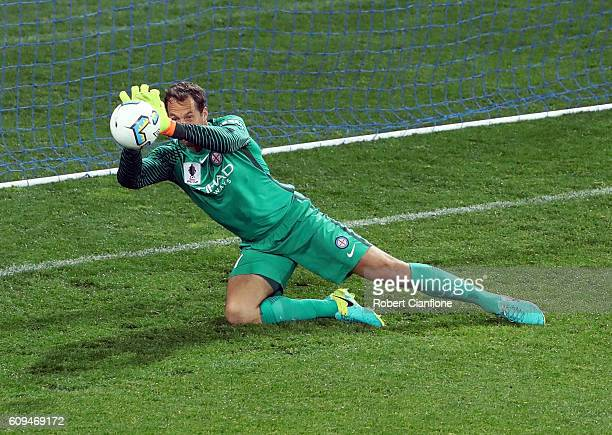 Melbourne City goalkeeper Thomas Sorensen makes a save during the FFA Cup Quarter Final between Melbourne City and Western Sydney at AAMI Park on...