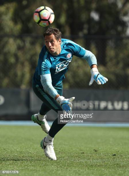 Melbourne City goalkeeper Thomas Sorensen watches the ball during a Melbourne City ALeague training session at City Football Academy on April 19 2017...