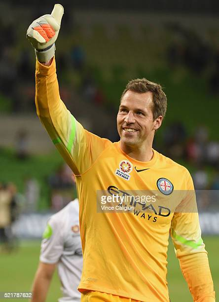 Melbourne City goalkeeper Thomas Sorensen waves to fans after winning the ALeague Elimination Final match between Melbourne City FC and Perth Glory...
