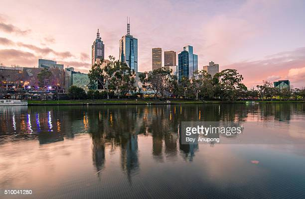 Melbourne city in the twilight time of the day, Australia.