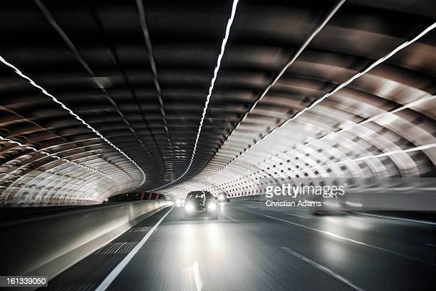 Melbourne city link street tunnel at night