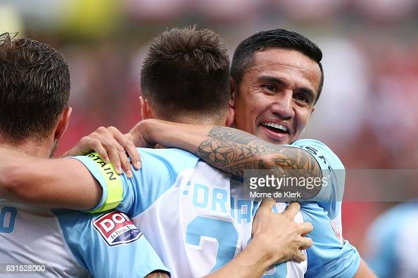 Melbourne City players celebrate a goal by Bruno Fornaroli of Melbourne City during the round 15 ALeague match between Adelaide United and Melbourne...