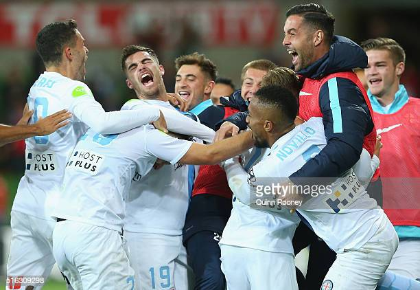 Melbourne City players celebrate a goal by Nick Fitzgerald during the round 24 ALeague match between Melbourne City and Brisbane Roar at AAMI Park on...