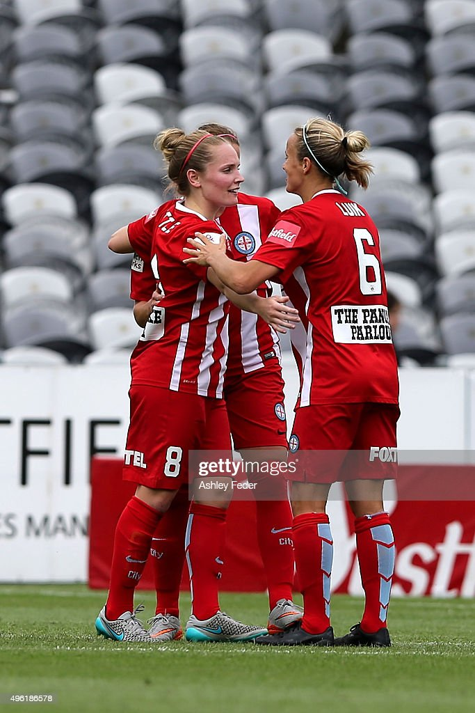 Melbourne City players celebrate a goal during the round four WLeague match between Canberra United and Melbourne City FC at Central Coast Stadium on...