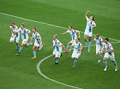 Melbourne City players celebrate after they defeated the Brisbane Roar in a penalty shoot out during the WLeague semi final match between Melbourne...