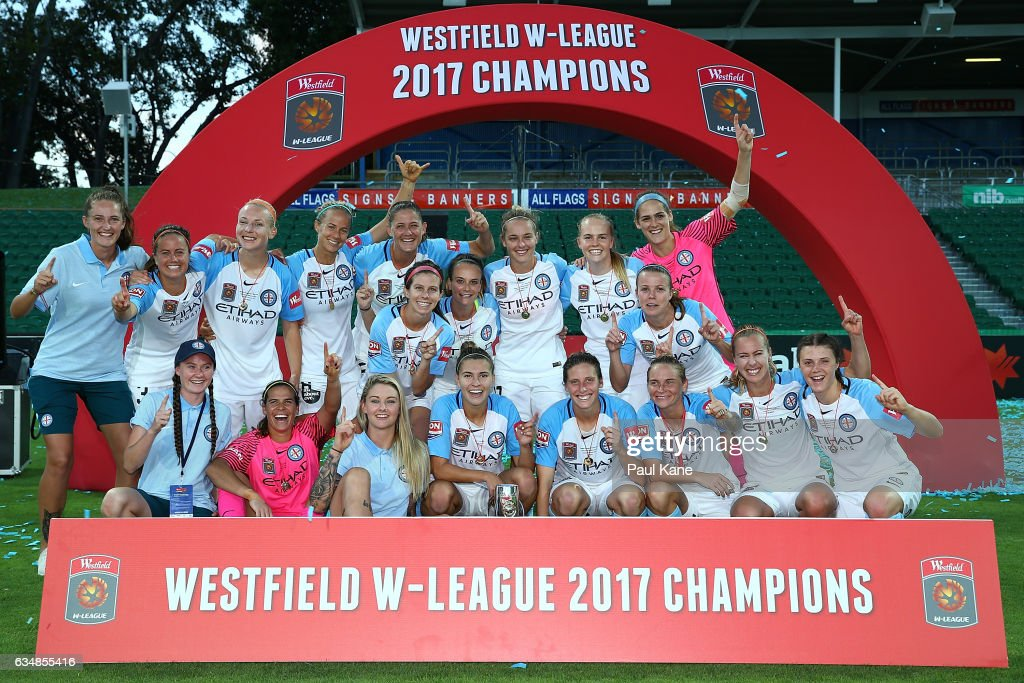 Melbourne City players pose with the trophy after winning the 2017 W-League Grand Final match between the Perth Glory and Melbourne City FC at nib Stadium on February 12, 2017 in Perth, Australia.