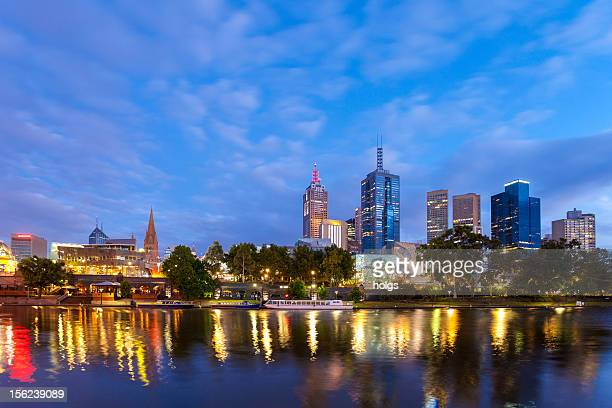 Melbourne City Skyline and the Yarra River at dawn