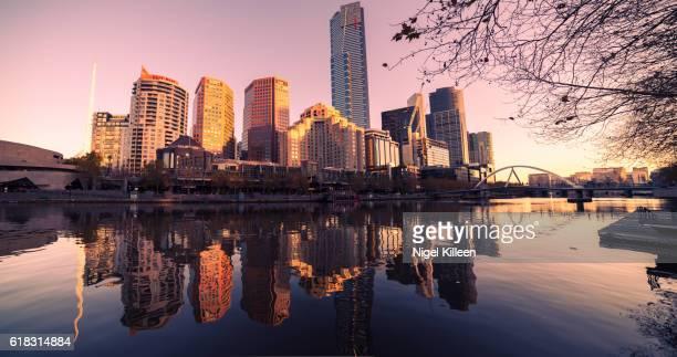 Melbourne city sunset panoramic