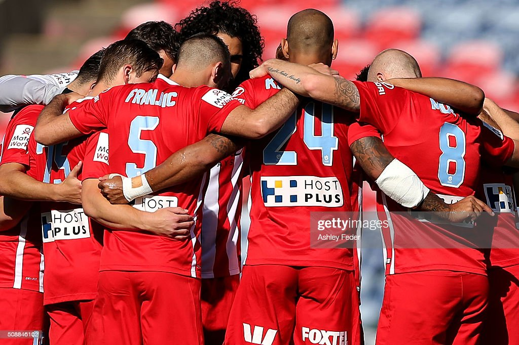 Melbourne City team line up during the round 18 A-League match between the Newcastle Jets and Melbourne City FC at Hunter Stadium on February 7, 2016 in Newcastle, Australia.