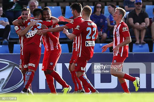Melbourne City team mates celebrate their second goal during the ALeague match between the Newcastle Jets and Melbourne City FC at Hunter Stadium on...